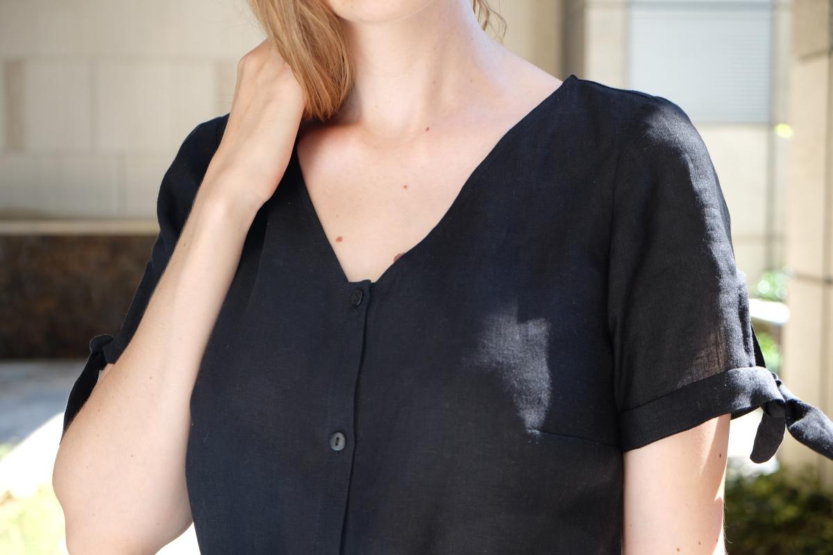La robe chemise longue nouée